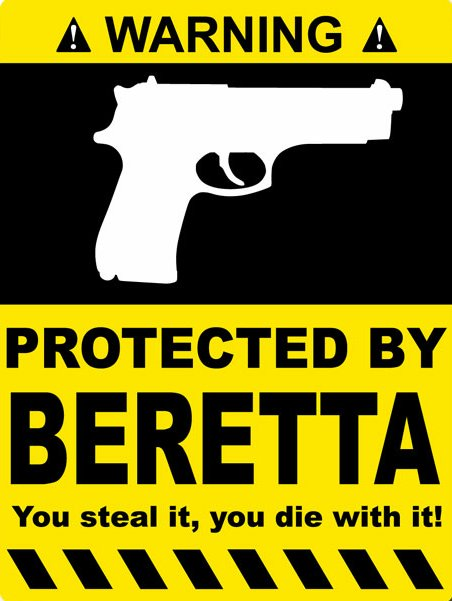 protected by beretta funny warning sticker