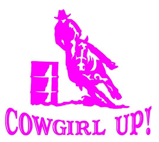 Barrel Racing Logos Cowgirl up barrel racer decal
