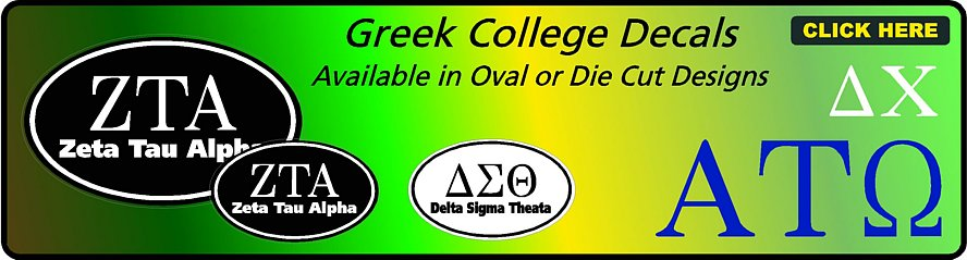 Greek College Decals